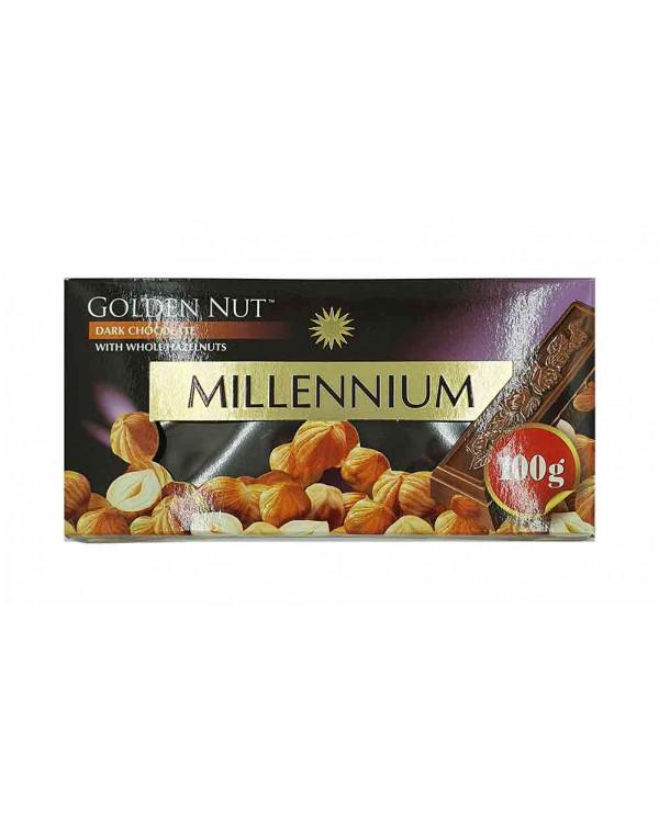 """Шоколад """"MILLENIUM GOLD"""" Чорний з цілими лісовими горіхами"""
