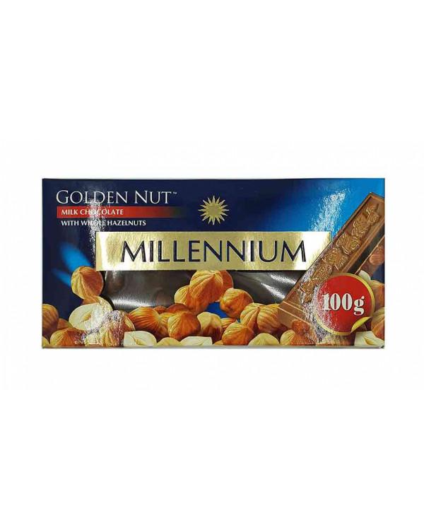 """Шоколад """"MILLENIUM GOLD"""" Молочний з цілими лісовими горіхами"""
