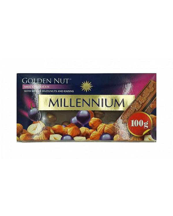 """Шоколад """"MILLENIUM GOLD"""" Молочний з родзинками та цілими лісовими горіхами"""