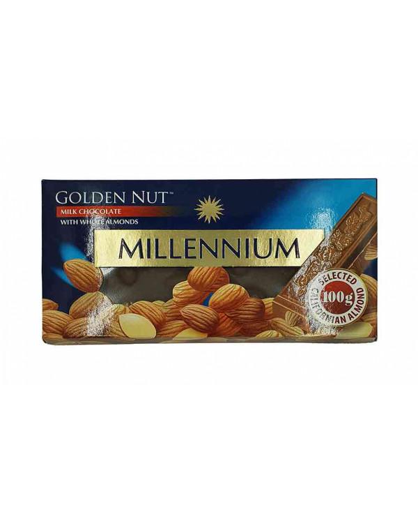 """Шоколад """"MILLENIUM GOLD"""" Молочний з цілим миндалем"""